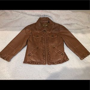 Other - Girls 3T/4T Brown Boho Ruffle Vegan Leather Jacket